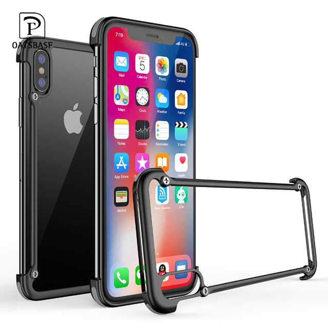 OATSBASF metal frame shape with airbag shockproof phone case for iphone XS Max XS XR Protective bumper back cover with film