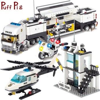 Police Station Trucks helicopter Building Blocks Set Kids Toys legoingly City Figures DIY Construction Bricks Toys for children