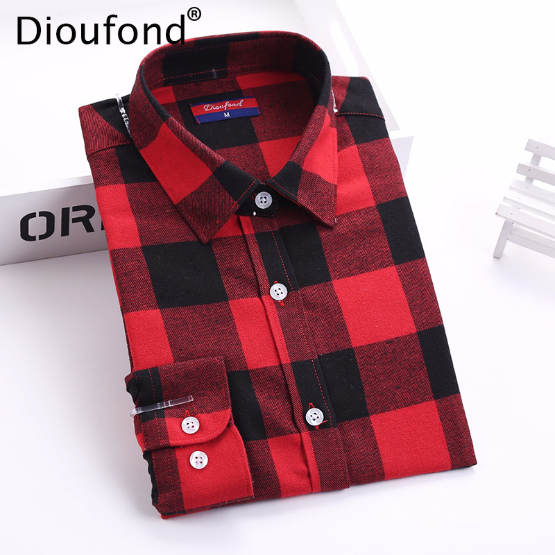 Buy dioufond flannel plaid shirt women for Buy plaid shirts online