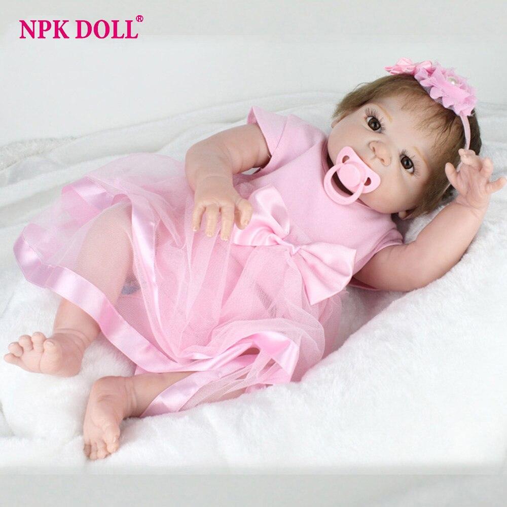 NPKDOLL 55 cm Bebe poupée Reborn Silicone complet fille bébés yeux bruns enfant cadeau d'anniversaire réaliste Adorable né poupées jouets