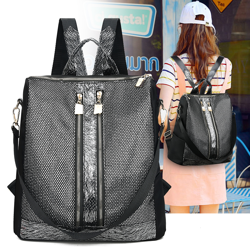 LANYIBAIGE Casual Women Backpack For Woman Top Quality Glossy Shoulder Bags Multifunction Female School Bags For Teenager Girls