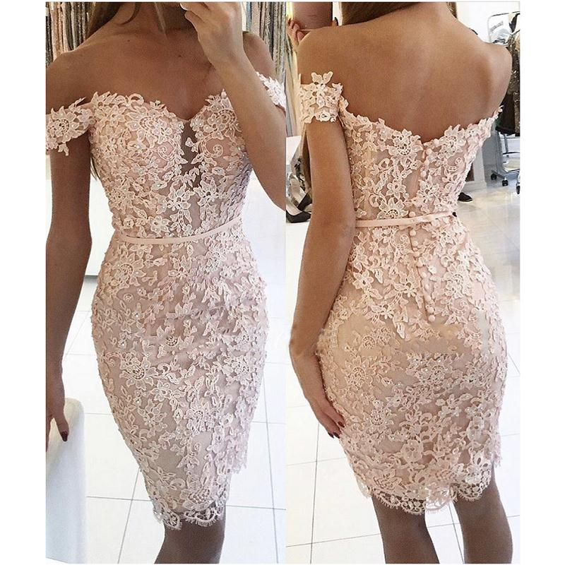 Champagne 2019 Elegant Cocktail Dresses Sheath Off The Shoulder Short Mini Lace Beaded Party Plus Size