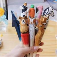 100 шт. шариковая ручка ручной работы милая искусственная резьба по дереву, животные шариковая ручка креативное искусство синие ручки подаро