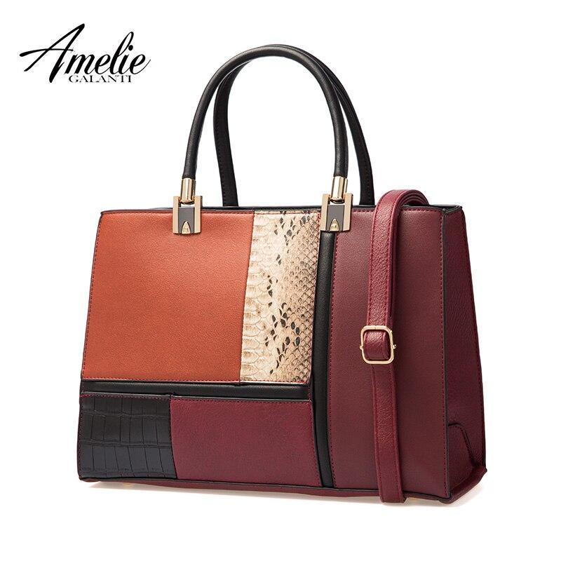 AMELIE GALANTI 2018 new autumn and winter women bag stitching fashion ladies handbag luxury women bags designer amelie galanti brand tote handbag