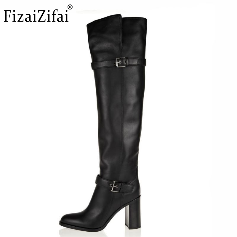 size 31-45 women real genuine leather high heel over knee boots fashion long boot winter warm botas quality footwear shoes R5391 size 30 45 women real genuine leather flat over knee boots long boot warm winter botas mujer brand footwear heels shoes r7761