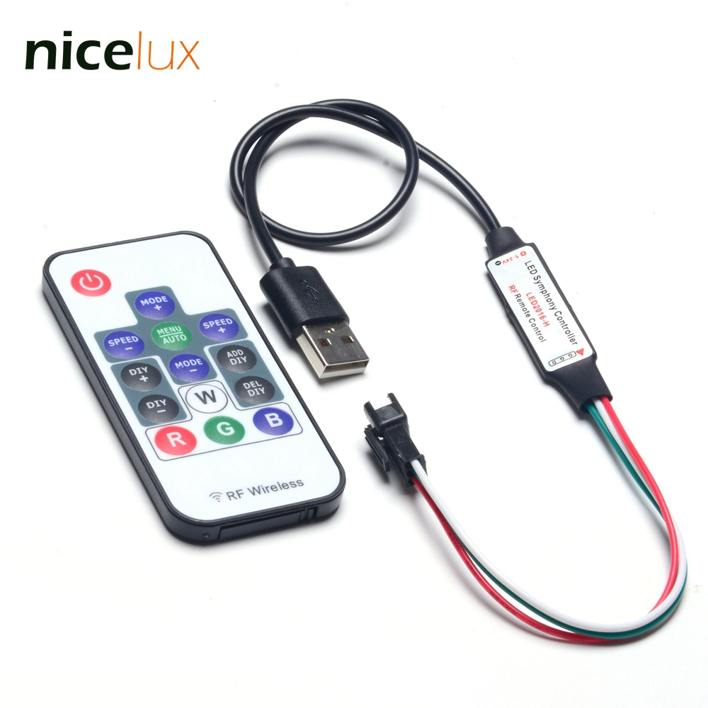 USB Controller For 3 Pin WS2812 Digital LED Pixel Strip With Wireless RF Remote DIY  WS2812B Control JST Connector Cable SK6812