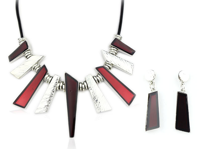 High Quality necklaces Enamel Jewelry Set Alloy Necklaces Leather Cords Jewelry set Wholesale NS22607