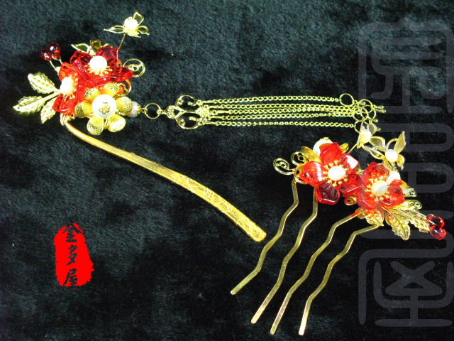 Hongxiu Golden Colored Glaze Flower Hair Stick with Tassel Hanfu Hair Accessory Set (1pc hair stick + hair comb) pink crystal double layer classical hair stick vintage hair accessory hair stick hanfu hair accessory