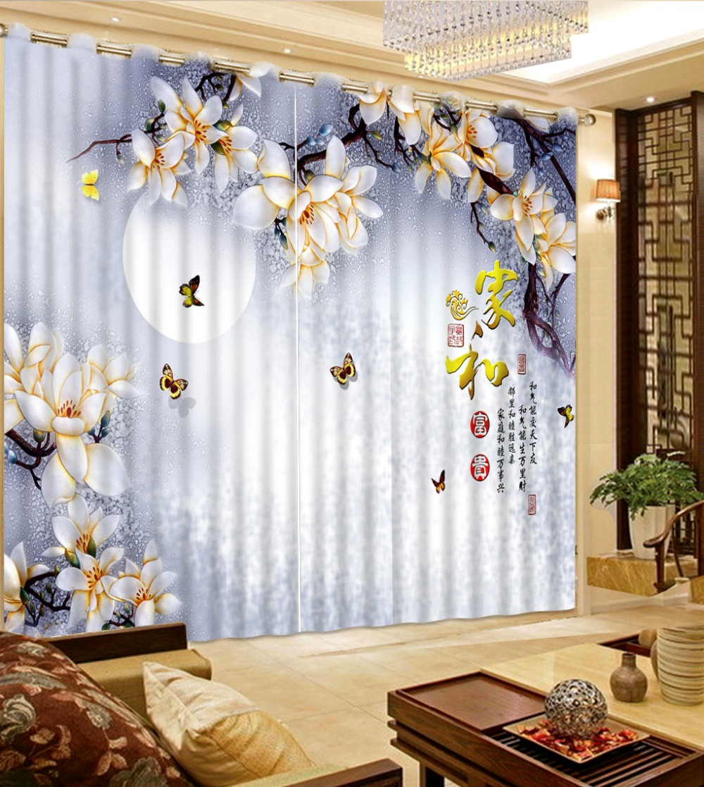 Patterned curtains living room - Chinese Style 3d Curtains Moon Butterfly Branches Pattern Curtains For Bedroom Kitchen Rideaux Pour Le Salon