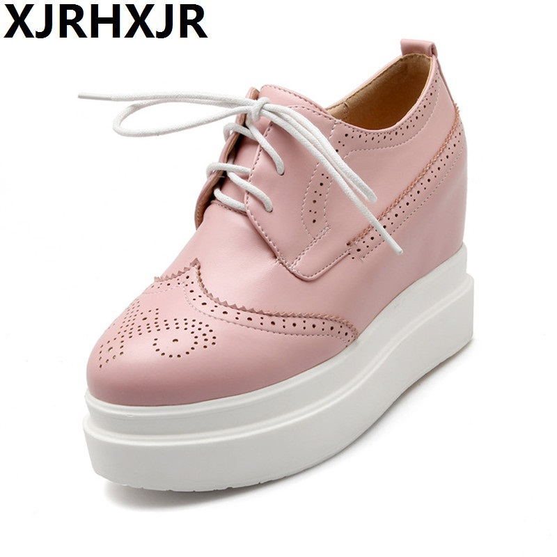 цены XJRHXJR Wedge Heels Round Toe Women Casual Shoes Creepers Autumn Lace Up 2018 Beige Pink Platform Shoes Woman Size 32-42