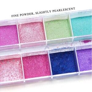Image 4 - Polvo de uñas cromo de 12 rejillas para inmersión, Polvo de pigmento de colores, purpurina de perlas para decoración de uñas, LAZGF 1