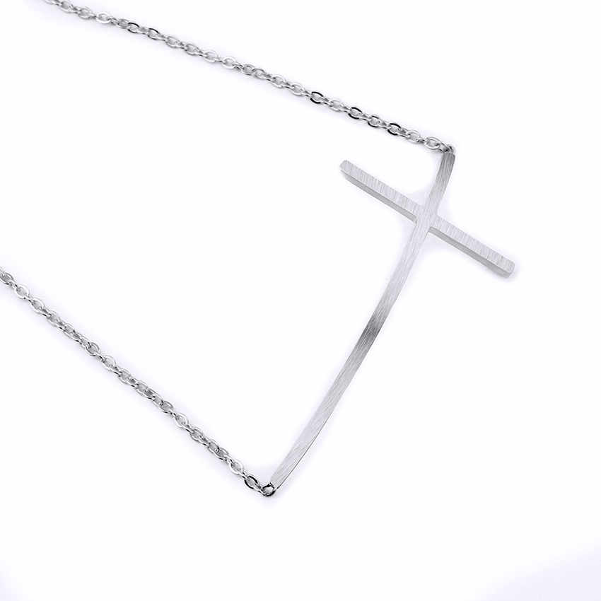 บางยาว Cross สร้อยข้อมือกำไลข้อมือผู้หญิงสแตนเลส Charm Chain Bff ของขวัญเครื่องประดับ Pulseras ทอง Silver Bijoux Femme