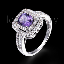 Solid 14K White Gold Jewelry 5x6mm Cushion Cut  Natural Purple Amethyst Ring For Wholesale 2T018