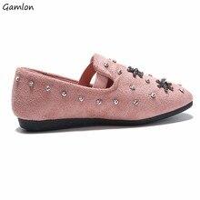 Gamlon 2017 Новое Прибытие Принцесса Shoes с Алмазными Плоские Doug Shoes Soft Leather Shoes for Girls