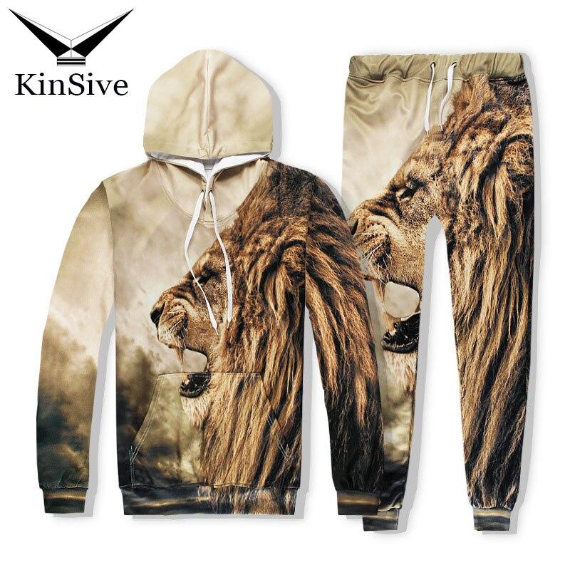 Men Clothing Set 2018 Fashion Lion Print 3D Hoodies Pants Tracksuit Men Two Piece Set Hooded Sweatshirt Male Hip Hop Track Suit