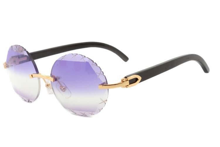 purple and light purple round Cut lenses black buffalo horn sunglasses 3524012(C), gold (1)