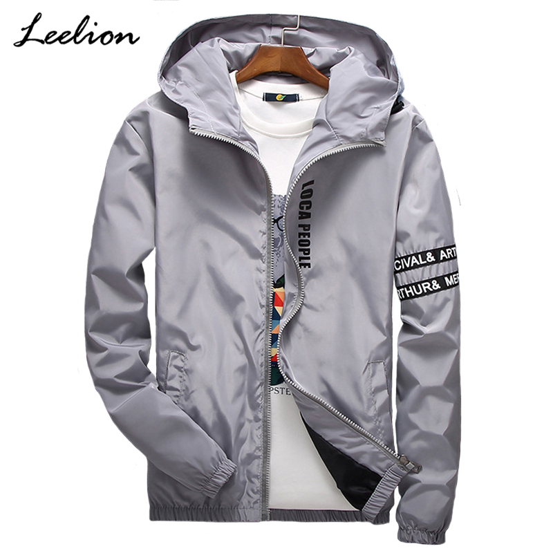 LeeLion 2018 Spring Letter Printed Jacket Men Fashion Hooded Coat Slim Fit Mens Windbreaker Hip Hop Streetwear Casual Clothing