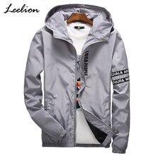 LeeLion 2018 Весна с принтом букв куртка для мужчин модное пальто капюшоном Slim Fit ветровка Хип Хоп Уличная Повседневная одежда