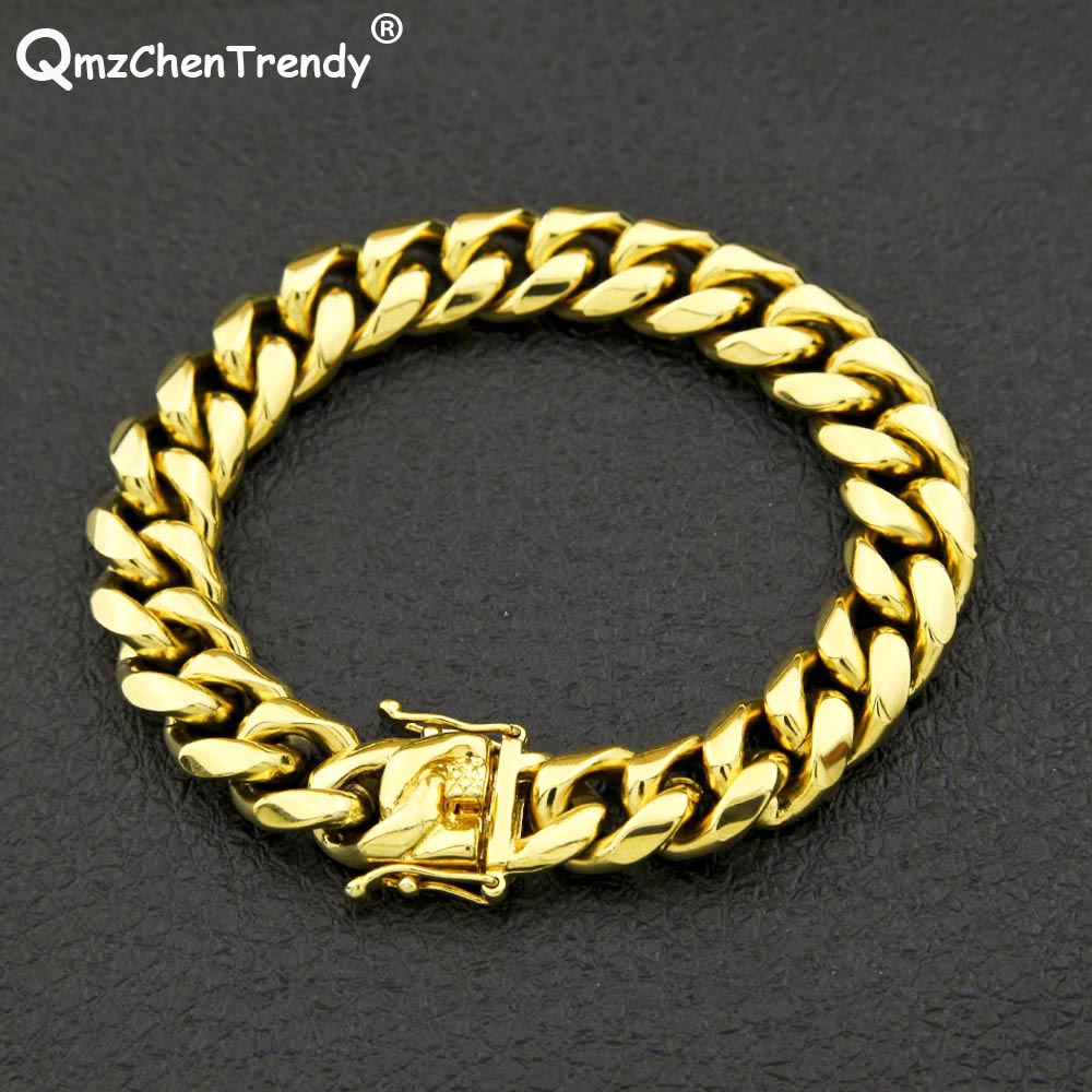 294726d3db70f 2018 Stainless Steel Hip hop Mens Curb Cuban Chain Bracelets Bangle Dargon  Square Lock Clasp Jewelry