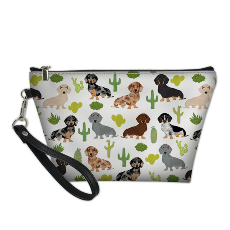 NOISYDESIGNS Dachshund Dog Cactus Portable Make Up Women Girls Cosmetic Bag Toiletry Travel Kit Storage Pouch Beauty Case Vanity