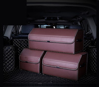 Autofans PU Leather Collapsible Car Trunk Box Density Wood Boot Organizer Foldable Auto Trunk Organizer Luggage Boot Box S04