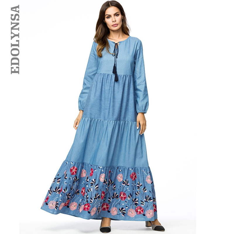 US $27.99 40% OFF Boho Blue Tiered Flounces Volants Embroidery Lace Up Long  Sleeve Maxi Dress Plus Size Women Winter Dress 2019 Gown Prom D636-in ...