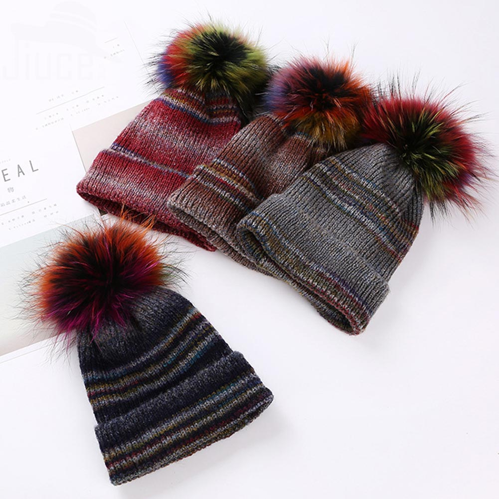 Imitation Fur Ball Cap Winter Hat For Women Girl 's Hat Knitted Beanies Cap Brand New Thick Female Cap cute ball top winter hat for women girl s hat casual gorros bonnet knitted cap beanies cap female thick cap brand new fashion