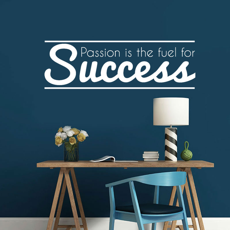 Passion Success Vinyl Wall Sticker Inspirational Quote Wall Decal Office School reading room Home Decor Removable Mural A345
