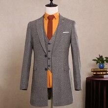2017 neuesten Mantel-Hose Designs Itallian Winter Autum Braunem Tweed hochzeit Anzüge für Männer Anzug Maßgeschneiderte Kundenspezifischen 3 Stücke Blazer