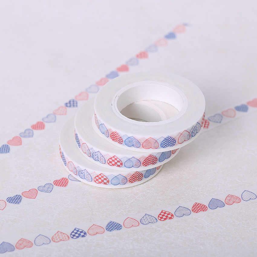 8Mm * 10M Kertas Dekoratif Washi Tape DIY Kerajinan Aksesoris Deafting Pita Perekat Jantung