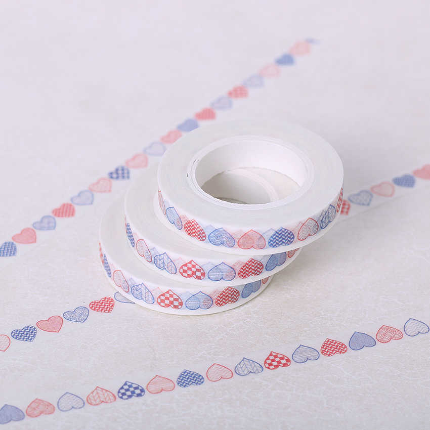 8mm*10m Decorative Paper Washi Tape DIY Handicraft Accessories Deafting Adhesive Tape Heart