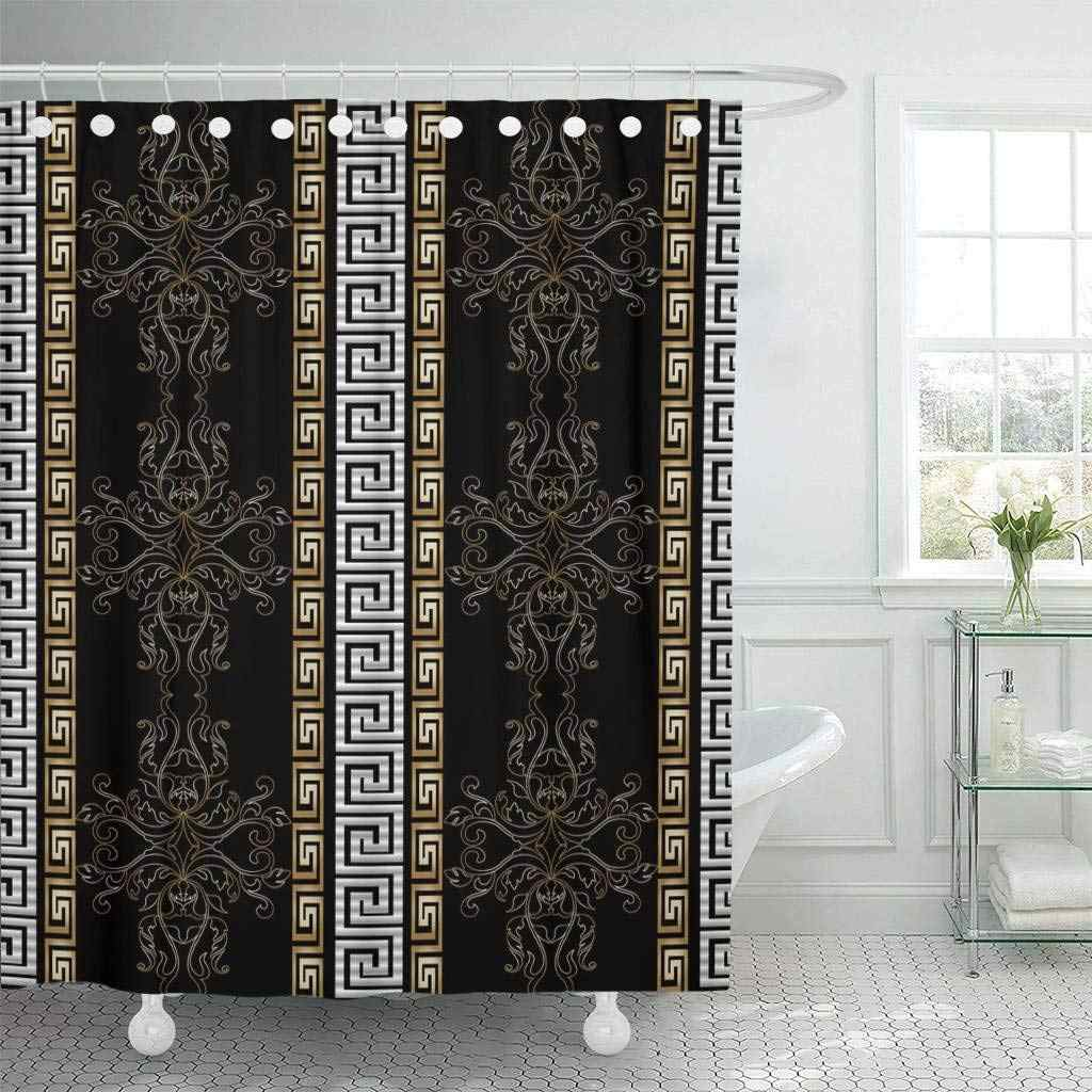Fabric Shower Curtain Hooks Striped Baroque Antique Black Vintage Medieval Damask Flowers Scroll Leaves Gold