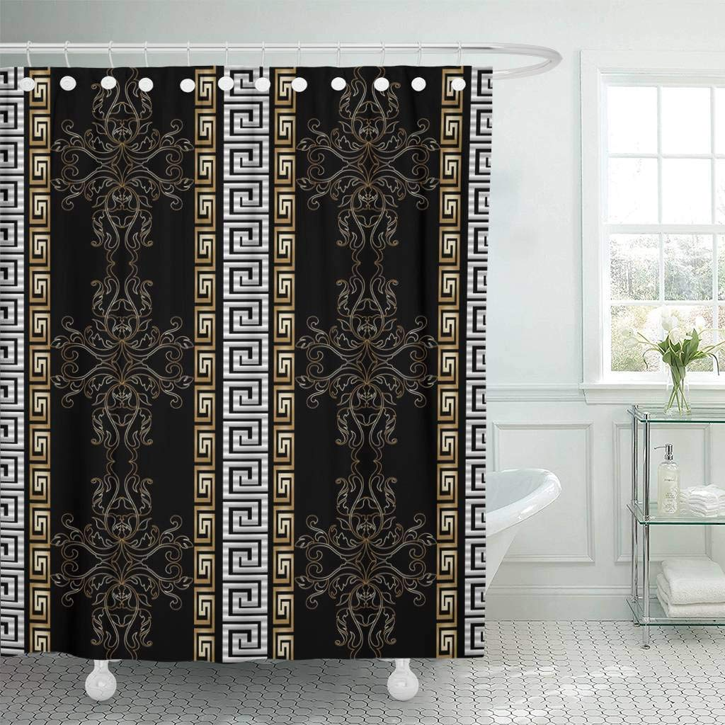 Us 17 48 30 Off Fabric Shower Curtain Hooks Striped Baroque Antique Black Vintage Medieval Damask Flowers Scroll Leaves Gold In Shower Curtains From