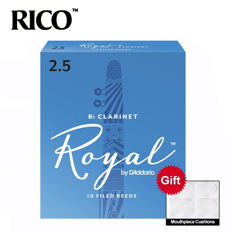 RICO Royal Bb Clarinet Reeds, Strength #1.5 #2.0 #2.5 #3.0, 10-pack Blue Box Of 10 With Gift