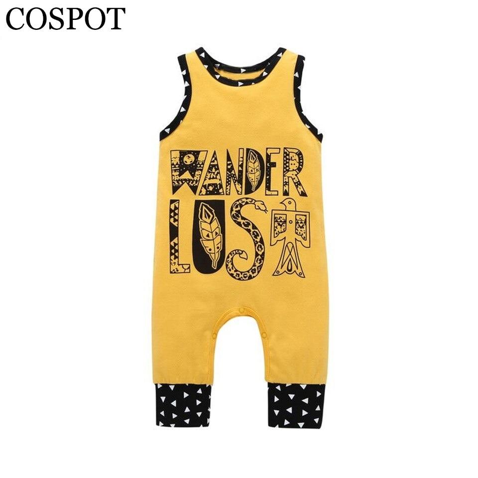 COSPOT Baby Boys Girls Cotton Romper Toddler Cute Sleeveless Summer Jumpsuit Kids Fashion One-piece Jumper 2018 New Arrival 40