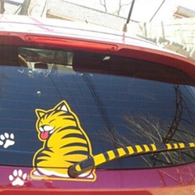 Kaca Mobil Dekorasi Stiker Lucu Kartun Kucing Gemetar Ekor 3d Vinyl