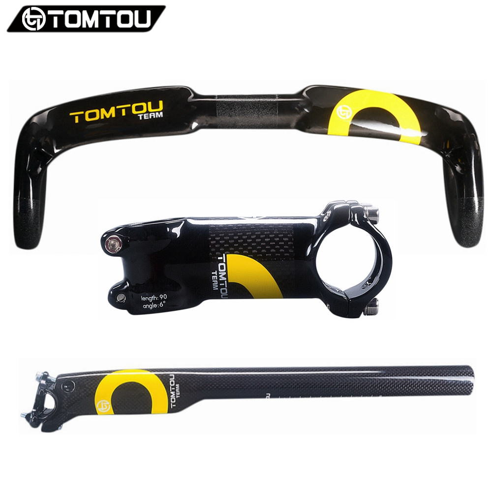 TOMTOU Carbon Road Handlebar Sets Cycling Bent Bar + Breaking Wind Seatpost + Stem Racing Bicycle Parts Set Yellow - TC6T03 цены онлайн