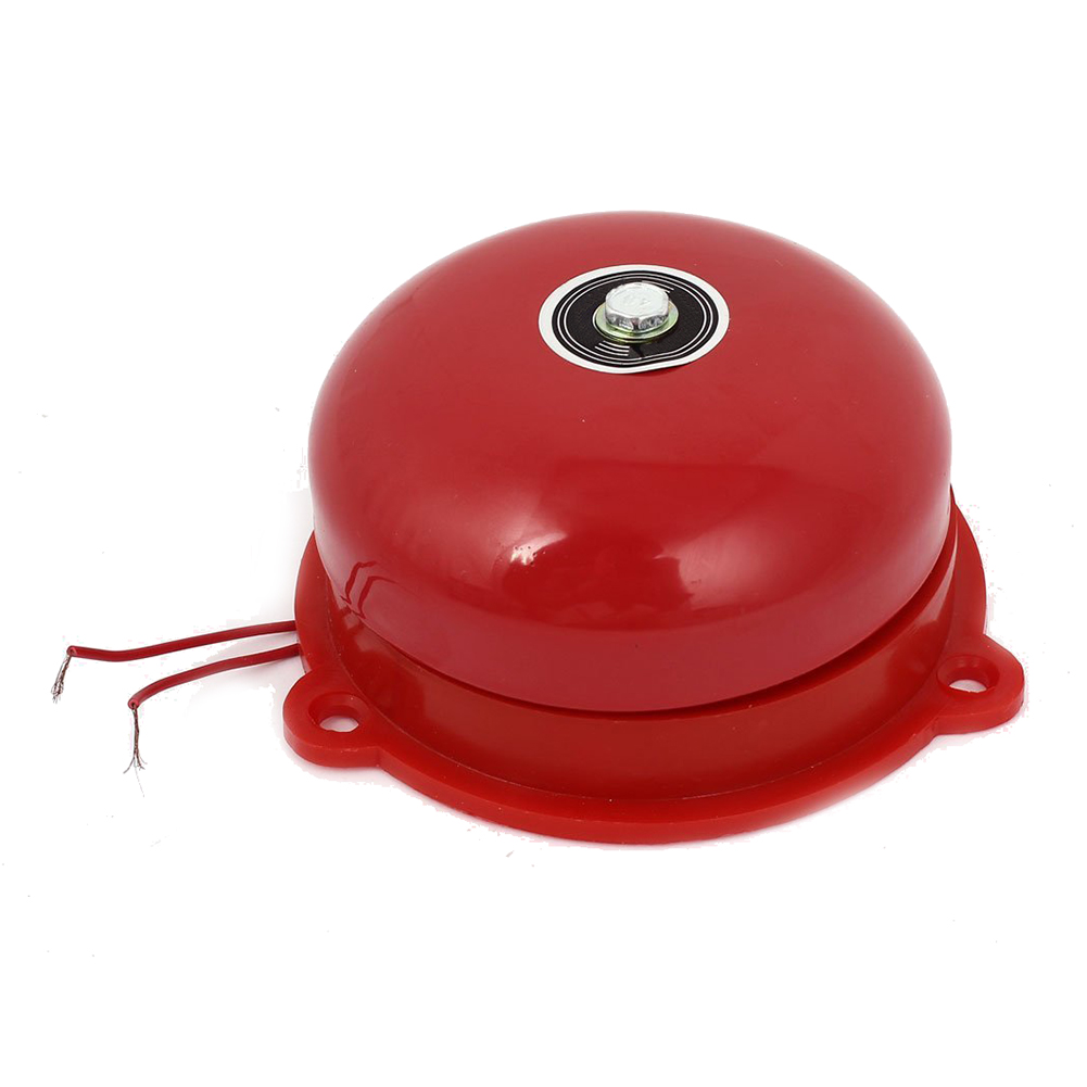 MOOL AC 220V 100mm 4 Inch Dia Schools Fire Alarm Round Shape Electric Bell Red