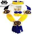 Nigeria Royal Blue and yellow beads africanos Boda joyería conjunto de cristal collar pendientes pulsera Envío gratis Majalia-042