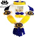 Nigeria Wedding Royal Blue and yellow african beads jewelry set crystal necklace bracelet earrings Free shipping Majalia-042