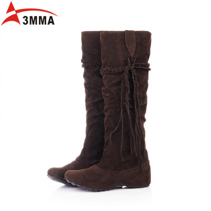 ФОТО 3MMA Brand Botines Botas Largas Mujer De Cuero Nieve Invierno 2016 Womens Knee High Tassel Winter Boots Snow For Plus Size Women