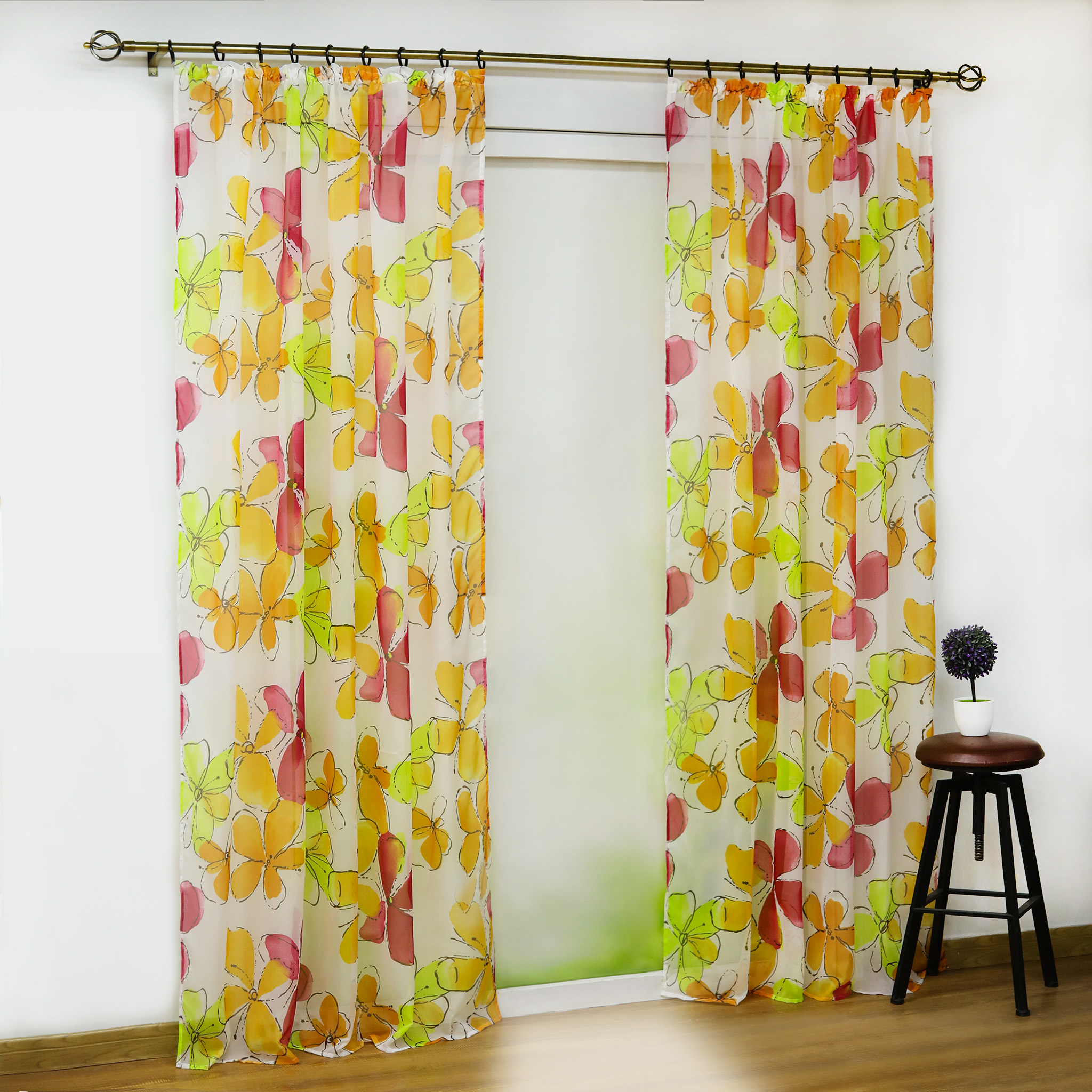 Eyelet Floral Sheer Voile Curtain Tab Top Pull Pleated Type Transparent Curtain Drapes Living Room Kitchen Window Treatment 1PCS