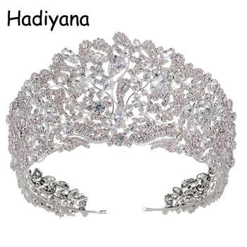 Hadiyana Fashion Stunning Copper Cubic Zirconia Crown Wedding Tiara CZ Hotsale Bridal Queen Princess Pageant Party Crowns HG6033 - DISCOUNT ITEM  40% OFF All Category