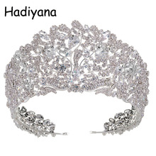 Hadiyana موضة مذهلة النحاس مكعب زركونيا تاج الزفاف تيارا تشيكوسلوفاكيا Hotsale الزفاف الملكة الأميرة مهرجان التيجان الحفلات HG6033