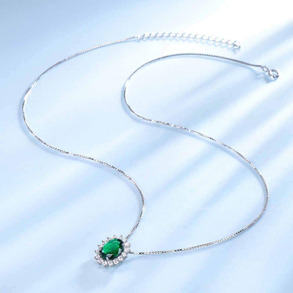 UMCHO คลาสสิก Princess Diana สร้อยคอจี้เงินแท้ 925 เครื่องประดับสร้าง Emerald สร้อยคอของขวัญ CHAIN