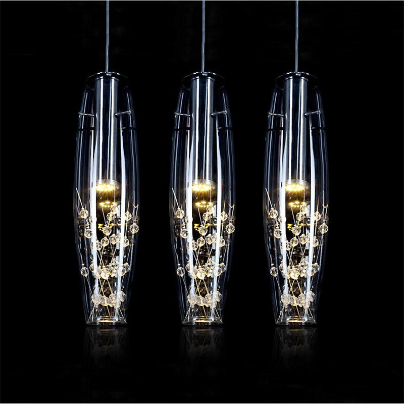 Modern Fashion Creative K9 Crystal Glass Led 5w*1/3 Heads Pendant Light for Dining Room Living Room AC 80-265V 1366 modern fashion luxurious rectangle k9 crystal led e14 e12 6 heads pendant light for living room dining room bar deco 2239