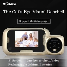 Cat s eye visual doorbell smart doorbell Intelligent safety doorbell 3 screen with 8G TF memory