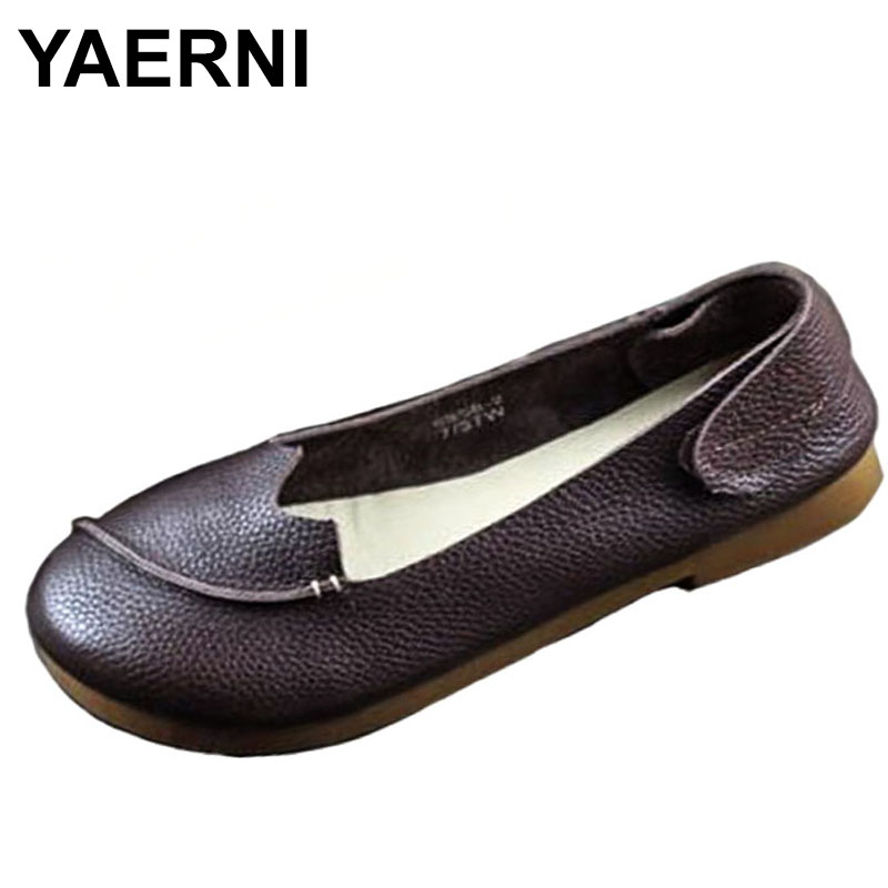 YAERNI Shoes Woman Flat Round Toe Slip on Ballet Flats 100% Authentic Leather Ladies Flat Shoes Anti-slip Women Moccasins summer women ballet flats mary jane shoes buckle strap black casual wedges shoes ladies anti slip slip on flat sapato feminino