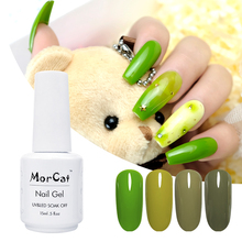 MorCat Nail Gel Polish Spring Green Color Soak Off UV Art DIY Olive Varnish 15ml Lacquer