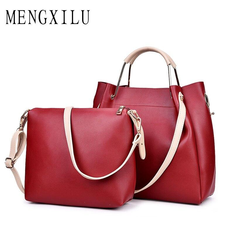MENGXILU Brand 2018 New Leather Bags Women High Quality Women Handbags Designer Shoulder Composite Bags Ladies Sac Femme 2018 mengxilu high quality composite bag